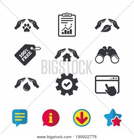Hands insurance icons. Shelter for pets dogs symbol. Save water drop symbol. House property insurance sign. Browser window, Report and Service signs. Binoculars, Information and Download icons