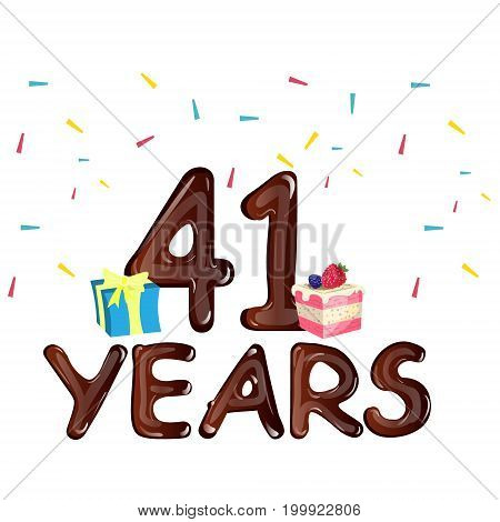 41 Years Anniversary celebration with gift box and cake. Vector illustration