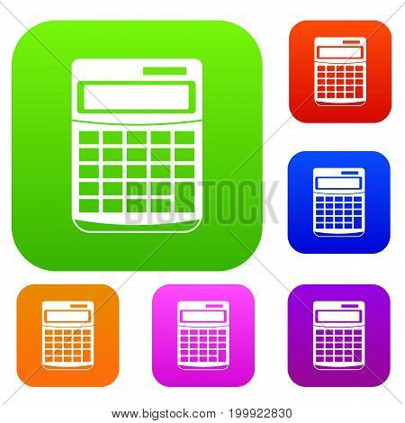 Calculator set icon in different colors isolated vector illustration. Premium collection