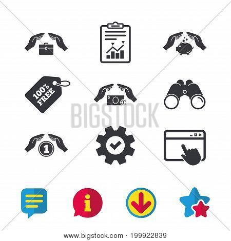 Hands insurance icons. Piggy bank moneybox symbol. Money savings insurance signs. Travel luggage and cash coin symbols. Browser window, Report and Service signs. Vector