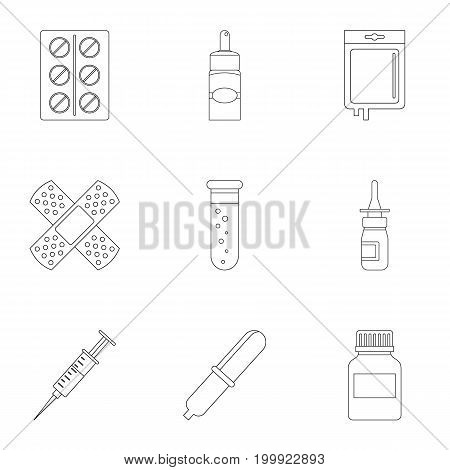 Drug forms icon set. Outline style set of 9 drug forms vector icons for web isolated on white background