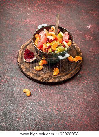 Summer Food. Tropical Salad Of Exotic Fruits.