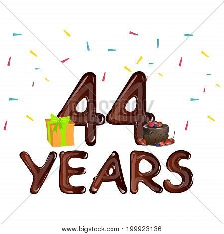 44 Years greeting cards with gift box. Vector illustration