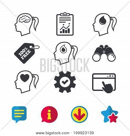 Head with brain icon. Female woman think symbols. Blood drop donation signs. Love heart. Browser window, Report and Service signs. Binoculars, Information and Download icons. Stars and Chat. Vector