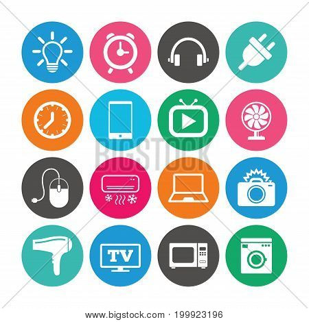 Set of Electronics, Home appliances and Devices icons. Hairdryer, Photo camera and Notebook signs. Air conditioning, Washing machine and Microwave oven symbols. Colored circle buttons with flat signs