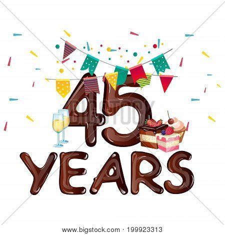 45 Years Anniversary celebration card. Vector illustration