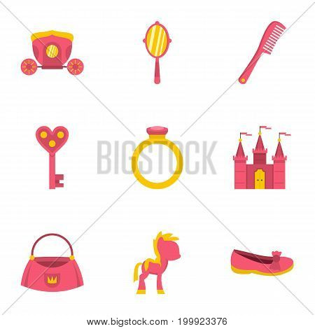 Princess things icon set. Flat style set of 9 princess things vector icons for web isolated on white background