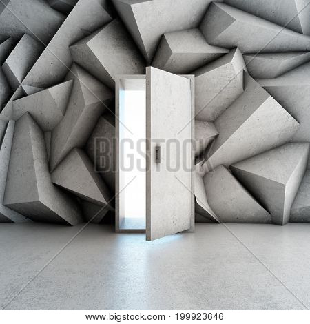 Door in concrete wall with abstract geometric shapes. 3D illustration.