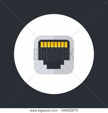 ethernet port icon, flat style, eps 10 file, easy to edit