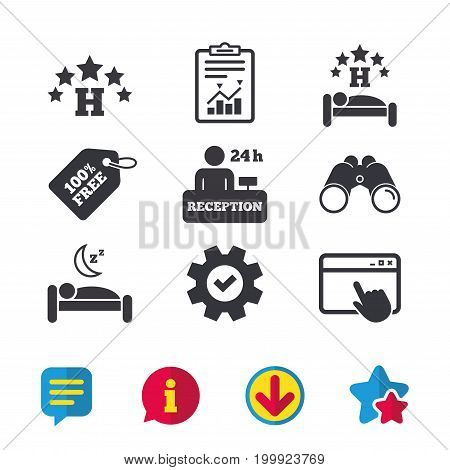 Five stars hotel icons. Travel rest place symbols. Human sleep in bed sign. Hotel 24 hours registration or reception. Browser window, Report and Service signs. Vector