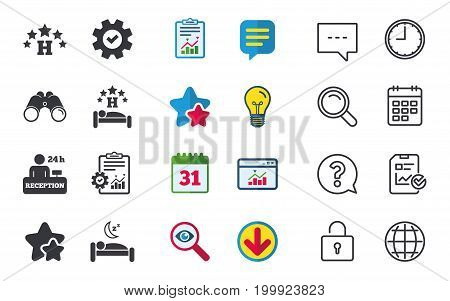 Five stars hotel icons. Travel rest place symbols. Human sleep in bed sign. Hotel 24 hours registration or reception. Chat, Report and Calendar signs. Stars, Statistics and Download icons. Vector