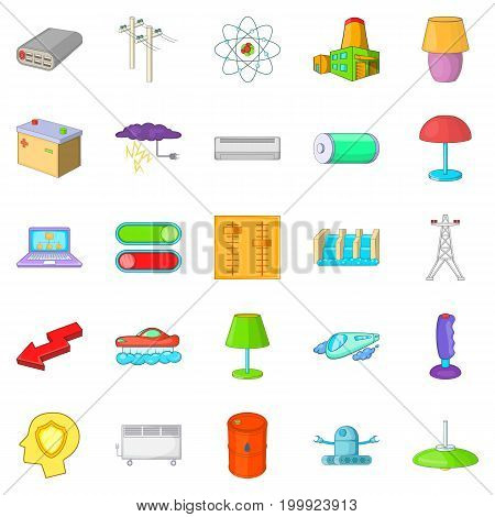 Power transmission icons set. Cartoon set of 25 power transmission vector icons for web isolated on white background