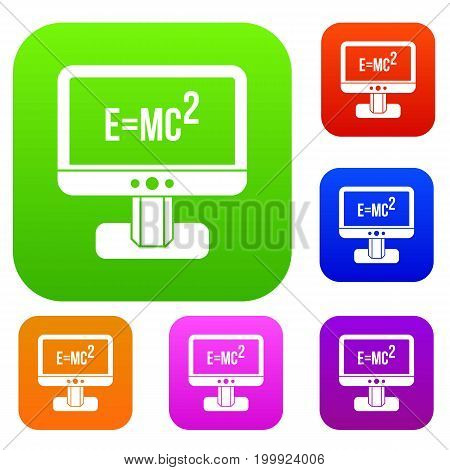 Monitor with Einstein formula set icon in different colors isolated vector illustration. Premium collection poster