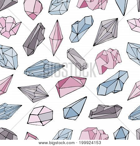 Seamless pattern with minerals, crystals, gems. Hand drawn colorful vector background