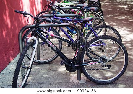 Bicycle parking. With the increase of the use of the bicycle, the parking is scarce.