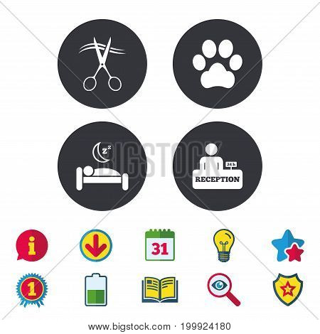 Hotel services icons. With pets allowed in room signs. Hairdresser or barbershop symbol. Reception registration table. Quiet sleep. Calendar, Information and Download signs. Vector