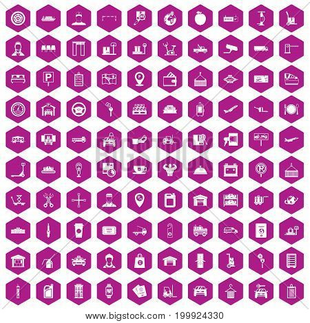 100 loader icons set in violet hexagon isolated vector illustration