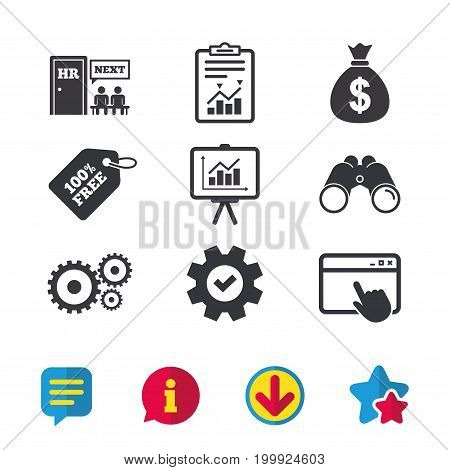 Human resources icons. Presentation board with charts signs. Money bag and gear symbols. Man at the door. Browser window, Report and Service signs. Binoculars, Information and Download icons. Vector