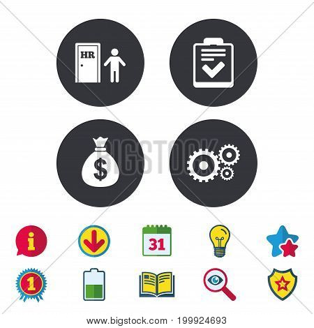 Human resources icons. Checklist document sign. Money bag and gear symbols. Man at the door. Calendar, Information and Download signs. Stars, Award and Book icons. Light bulb, Shield and Search