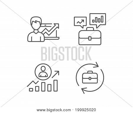 Portfolio case, Business results and HR line icons. Job Analytics, Growth chart and Business case signs. Quality design elements. Editable stroke. Vector