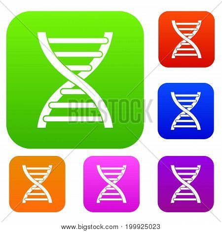 DNA set icon in different colors isolated vector illustration. Premium collection