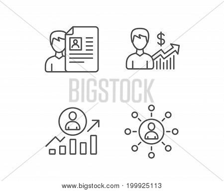 CV, Business Networking and Get a Job line icons. Work results and Growth chart signs. Quality design elements. Editable stroke. Vector