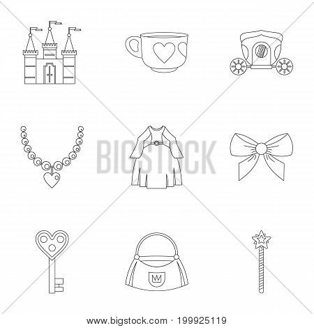 Doll princess icon set. Outline style set of 9 doll princess vector icons for web isolated on white background