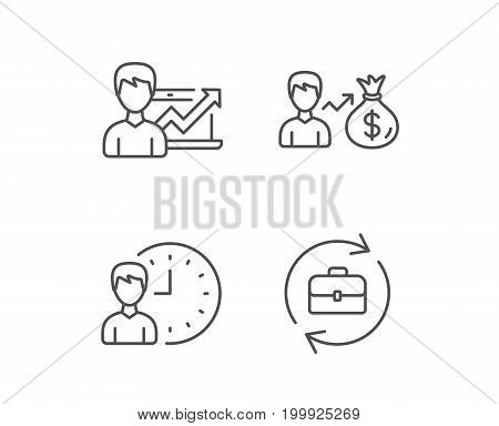 Business time, Portfolio case and Job results line icons. Earnings and Growth chart signs. Quality design elements. Editable stroke. Vector
