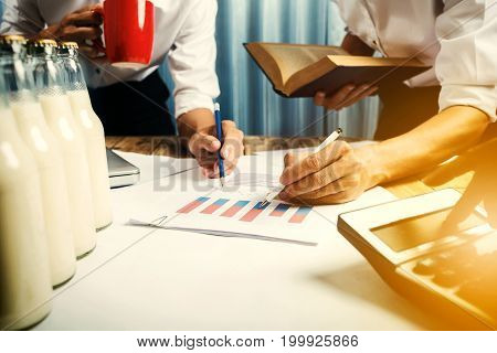 Business Man Working Teamwork In Milk Bottle Quality Control Hard Job Concept, Quantity Checking In