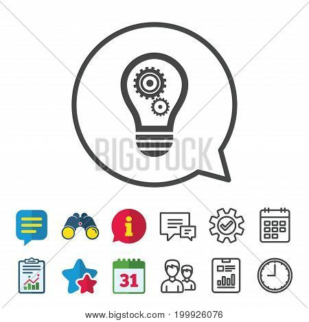 Light lamp sign icon. Bulb with gears and cogs symbol. Idea symbol. Information, Report and Calendar signs. Group, Service and Chat line icons. Vector