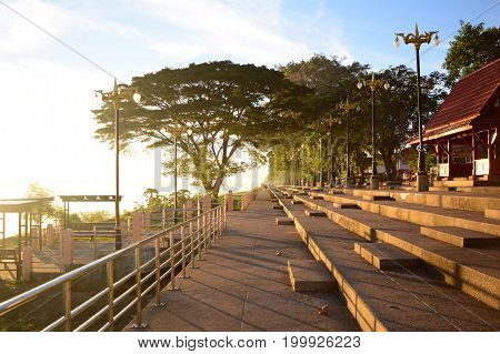 view of the park near Khong river with warm sun light in the morning