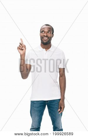 African American Man Pointing Up With Finger