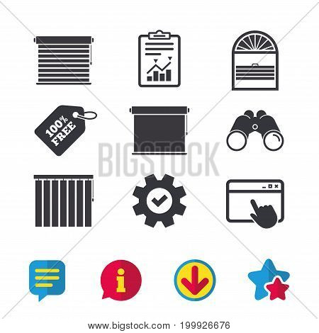 Louvers icons. Plisse, rolls, vertical and horizontal. Window blinds or jalousie symbols. Browser window, Report and Service signs. Binoculars, Information and Download icons. Stars and Chat. Vector
