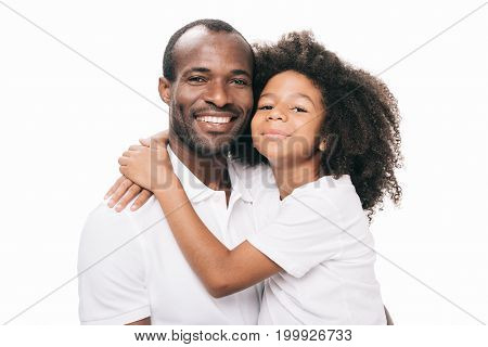 African American Father And Daughter Hugging