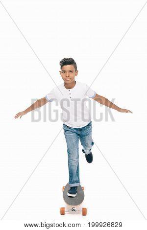African American Boy With Skateboard