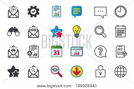 Mail envelope icons. Print message document symbol. Post office letter signs. Spam mails and search message icons. Chat, Report and Calendar signs. Stars, Statistics and Download icons. Vector