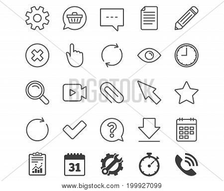 Document, Time and Calendar line icons. Question, Chat and Pencil signs. Cogwheel, Download and Attach clip symbols. Mouse cursor, Magnifier and Shopping cart. Report, Calendar and Service signs
