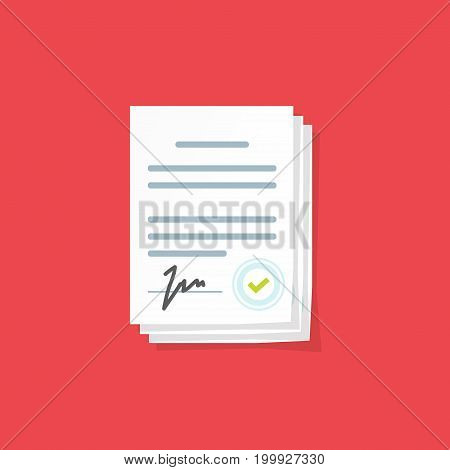 Document sign vector illustration, flat cartoon paper documents pile with signature and text, idea of contract signed doc, legal agreement, license with approved stamp, partnership form, success deal