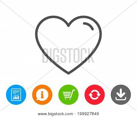 Heart line icon. Love sign. Valentines Day sign symbol. Report, Information and Refresh line signs. Shopping cart and Download icons. Editable stroke. Vector