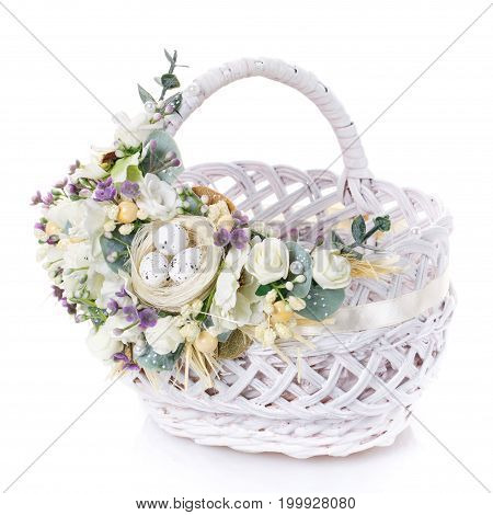 decorative Easter basket on a white background