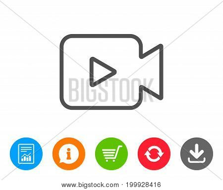 Video Camera line icon. Movie or Cinema sign. Multimedia symbol. Report, Information and Refresh line signs. Shopping cart and Download icons. Editable stroke. Vector