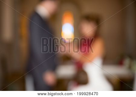 Married Couple In The Church Unrecognizable Because The Photo Is Fuzzy Artistic