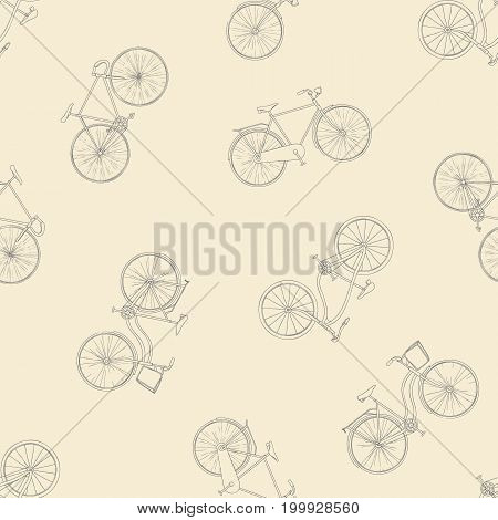Seamless pattern with hand drawn bicycles modern and retro style. Different types city, fix, highway, cruiser, sport, mountain bike. Outline background