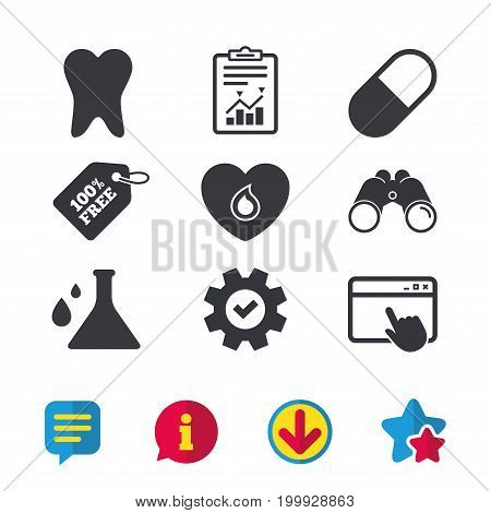 Maternity icons. Pill, tooth, chemistry and heart signs. Blood donation symbol. Lab bulb with drops. Dental care. Browser window, Report and Service signs. Binoculars, Information and Download icons