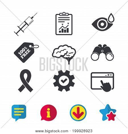 Medicine icons. Syringe, eye with drop, brain and ribbon signs. Breast cancer awareness symbol. Human smart mind. Browser window, Report and Service signs. Binoculars, Information and Download icons