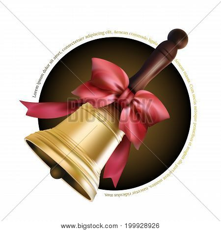 Golden school metal bell with red bow  and wooden handle isolated on white background. Vector illustration to first september - beginning of the school year
