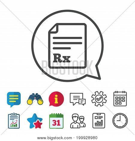 Medical prescription Rx sign icon. Pharmacy or medicine symbol. Information, Report and Calendar signs. Group, Service and Chat line icons. Vector