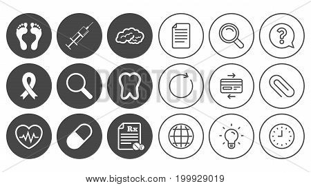 Medicine, medical health and diagnosis icons. Syringe injection, heartbeat and pills signs. Tooth, neurology symbols. Document, Globe and Clock line signs. Lamp, Magnifier and Paper clip icons