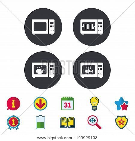 Microwave oven icons. Cook in electric stove symbols. Grill chicken and fish signs. Calendar, Information and Download signs. Stars, Award and Book icons. Light bulb, Shield and Search. Vector