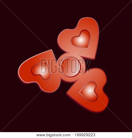 Red Finger Spinner with hearts. Isolated on background. Vector.
